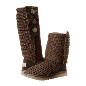 UGG Classic Cardy Boots Knit with Buttons Brown 5